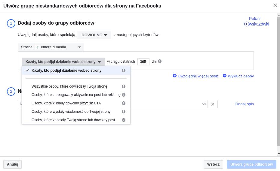 remarketing na facebooku na podstawie osób, które zaangażowały się na stronie