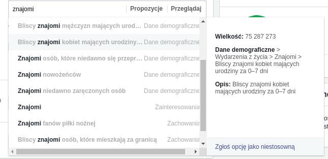targetowanie reklam na facebooku różne dziwne opcje