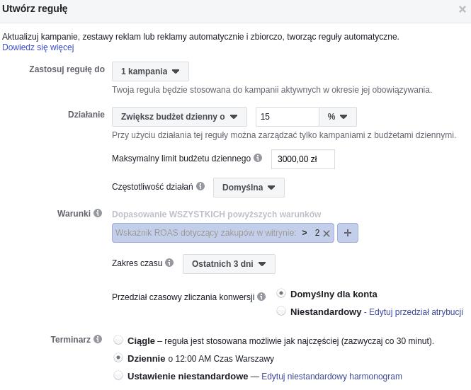 skalowanie facebook ads reguły automatyczne