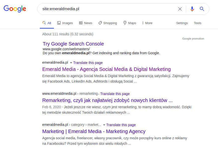 wyszukiwanie podstron na stronie w analizie content marketing. Przykład site:emeraldmedia.pl