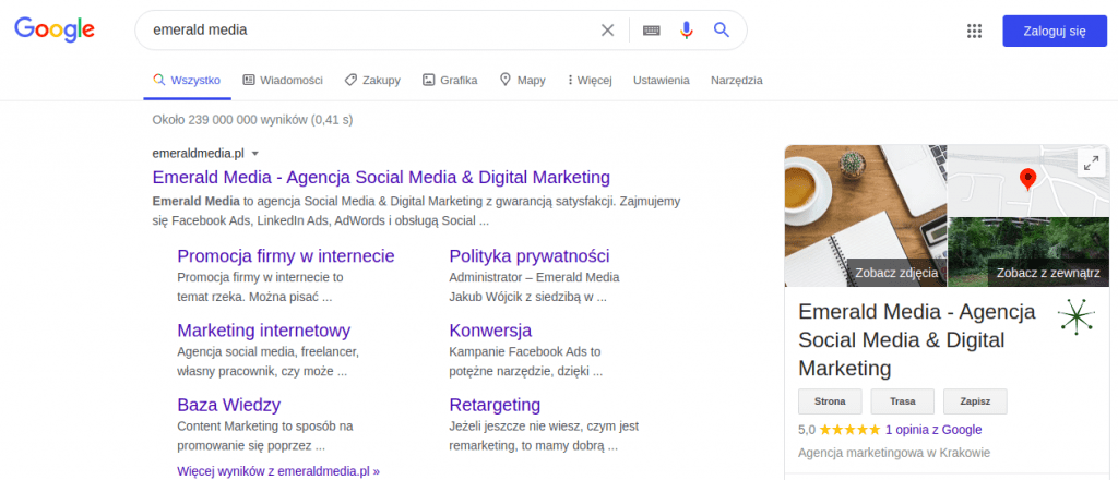google moja firma widok - promocja firmy w internecie