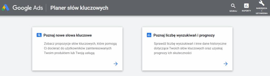 Planer słów kluczowych od Google