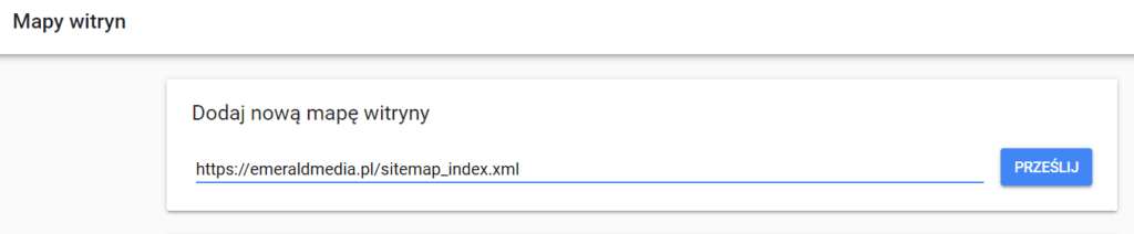 google search console - mapa witryny