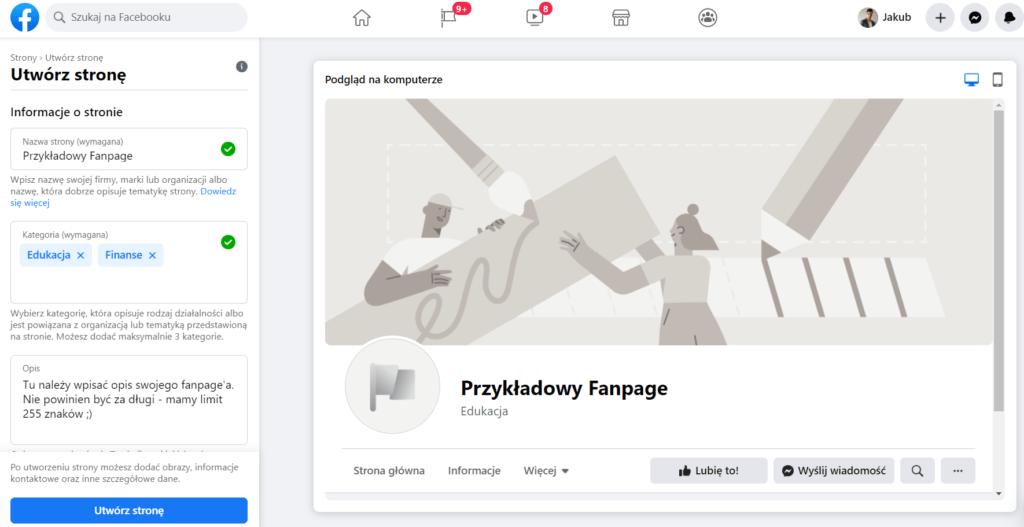 ekran tworzenia strony na facebooku
