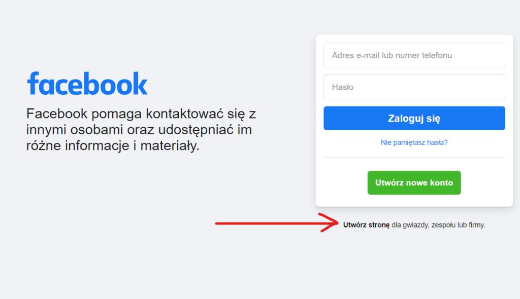 fanpage na facebooku bez profilu prywatnego
